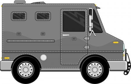 bullet proof: armored truck vehicle cartoon isolated on white background Illustration