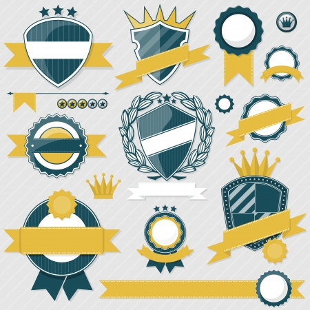 ribbon award: emblem blank labels and ribbons collection for your designs, in vector format very easy to edit, individual objects, solid colors, no gradients