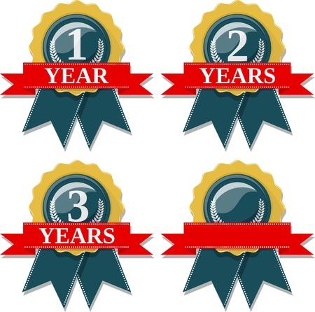 2 to 3 years: sigillare e raccolta del nastro commemora 1 2 3 anni, in formato vettoriale molto facile da modificare, singoli oggetti, colori pieni, senza sfumature Vettoriali