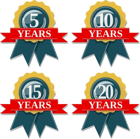 10 years: seal and ribbon collection commemorating 5 10 15 20 years,  in vector format very easy to edit, individual objects, solid colors, no gradients