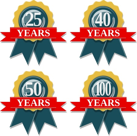 seal and ribbon collection commemorating 25 40 50 100 years,  in vector format very easy to edit, individual objects, solid colors, no gradients