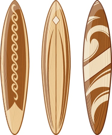 wooden surfboards isolated on white background, vector format very easy to edit, no gradients, only solid colors Vectores