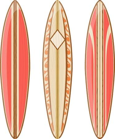 白い背景、ベクター形式の非常に簡単に編集する、グラデーション、純色のみに分離された木製のサーフボード