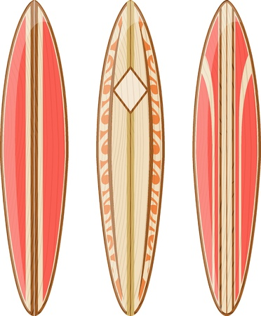 surfboard: wooden surfboards isolated on white background, vector format very easy to edit, no gradients, only solid colors Illustration