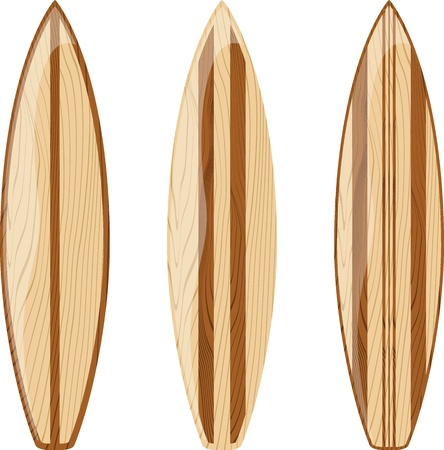 wooden surfboards isolated on white background, vector format very easy to edit, no gradients, only solid colors 向量圖像