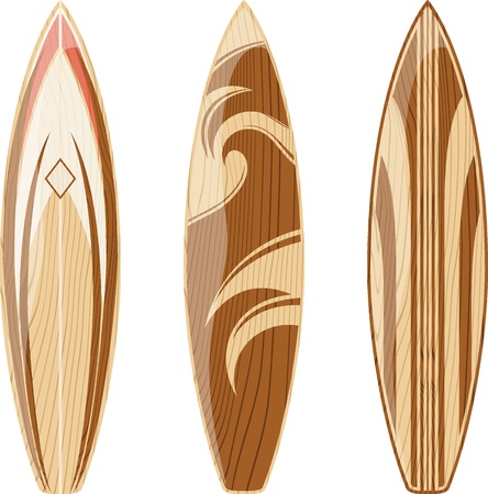wooden surfboards isolated on white background, vector format very easy to edit, no gradients, only solid colors Ilustração