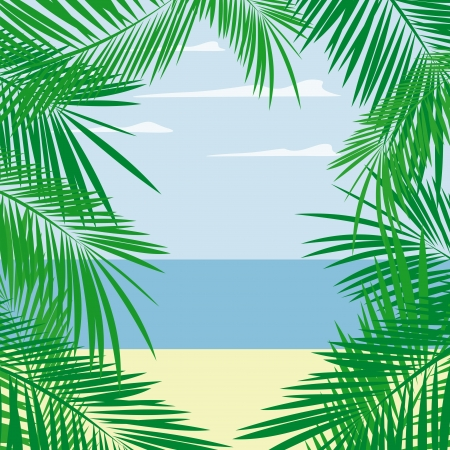 palm tree leaves framing beach and sea landscape, vector format very easy to edit, individual objects