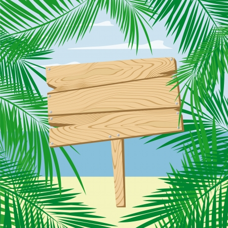 palmtree: palm leaves framing a blank wooden sign board on beach, vector format very easy to edit, individual objects