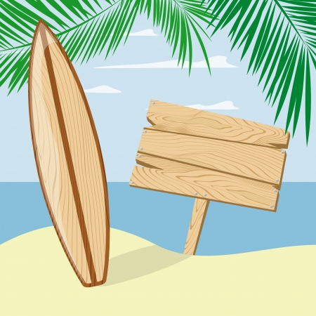 surfboardand signboard on a beach background, vector format very easy to edit, individual objects, no gradients, only solid colors Vector