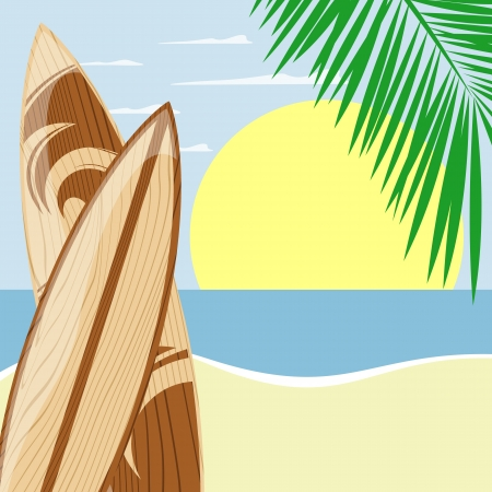 surfboards on beach background with copy space