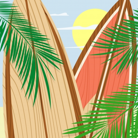 wooden surfboards and palms, vector format very easy to edit, individual objects