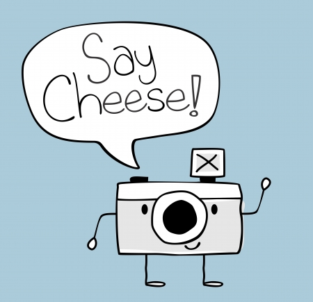 cheese cartoon: cute funny camera with say cheese text balloon, legs and arms hand drawn on solid color background easy to isolate