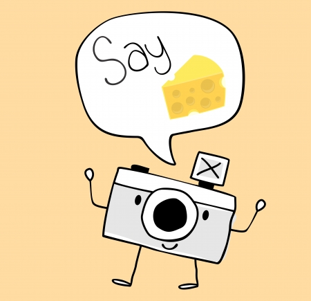say cheese: cute funny camera with say cheese text balloon, legs and arms hand drawn on solid color background easy to isolate