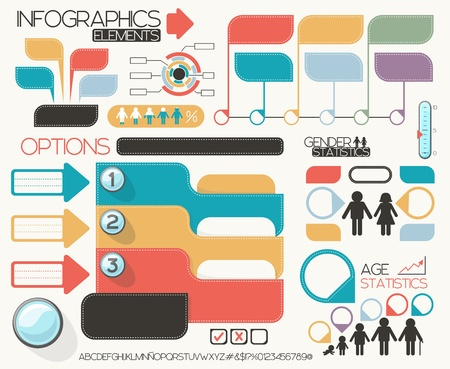 infographic elements set, vector format very easy to edit, individual objects, no gradients, only solid colors, custom typography created by my
