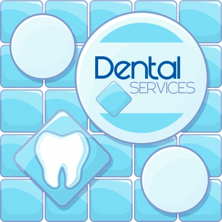 dental services design in tiling blue background and copy space for your text, vector format very easy to edit, individual objects, no gradients, only solid colors, custom typography created by me 向量圖像