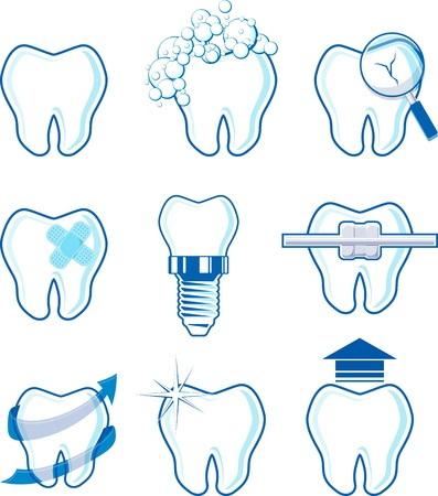 oral care: dental icons designs isolated on white background, vector format very easy to edit, individual objects, no gradients, only solid colors, custom typography created by me