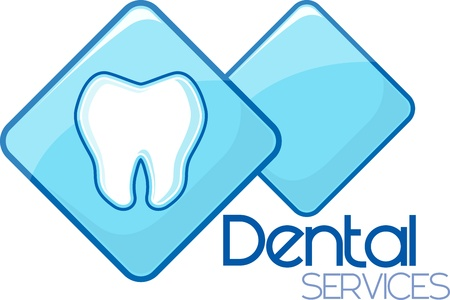 stomatology icon: dental services design, vector format very easy to edit, individual objects, no gradients, only solid colors, custom typography created by me Illustration