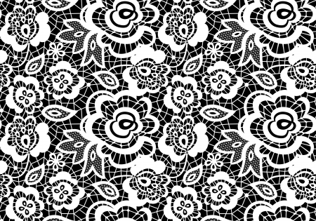 vintage lace guipure seamless pattern with abstract flowers on black background