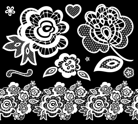 lace embroidery design elements with abstract flowers on black background Stock Illustratie