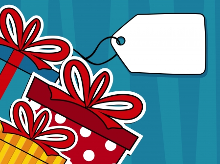 gift boxes with hang tag label background, ideal for greeting card in vector format very easy to edit, individual objects