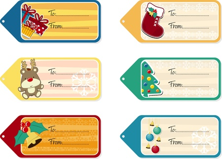 christmas gift tag: set of six christmas gift tags isolated on white background, vector format very easy to edit, individual objects Illustration