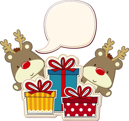 two baby reindeer and gift boxes with blank text balloon isolated on white Vectores