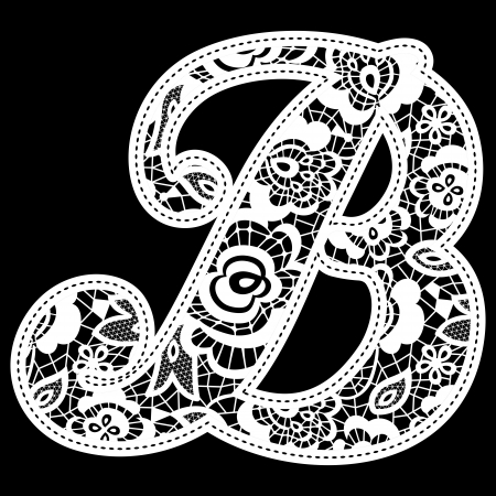 initial: illustration of embroidery lace initial isolated on black, ideal for wedding invitation or decoration