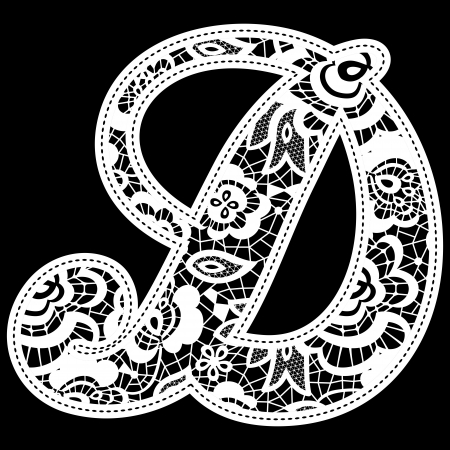 backstitch: illustration of embroidery lace initial isolated on black, ideal for wedding invitation or decoration
