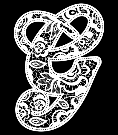 illustration of embroidery lace initial isolated on black, ideal for wedding invitation or decoration 免版税图像 - 22097942