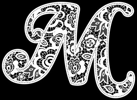 Illustration der Stickerei Spitze Anfangs isoliert auf schwarz, ideal für Hochzeitseinladung oder Dekoration Standard-Bild - 22097951
