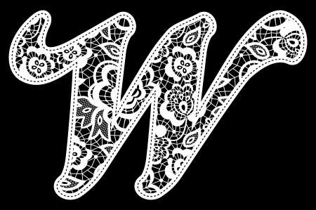 illustration of embroidery lace initial isolated on black, ideal for wedding invitation or decoration Vector