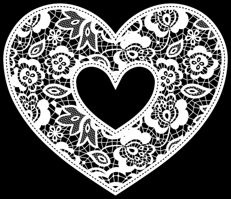 illustration of embroidery lace heart applique isolated on black, ideal for wedding invitation or decoration Vectores