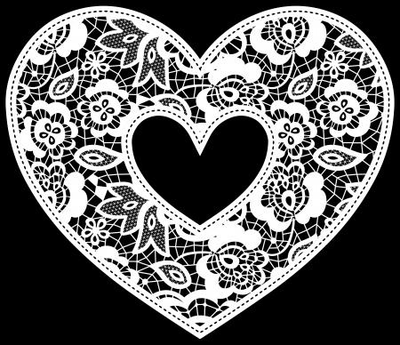 negro: ilustración de encaje bordado applique corazón aislado en negro, ideal para la invitación de la boda o la decoración
