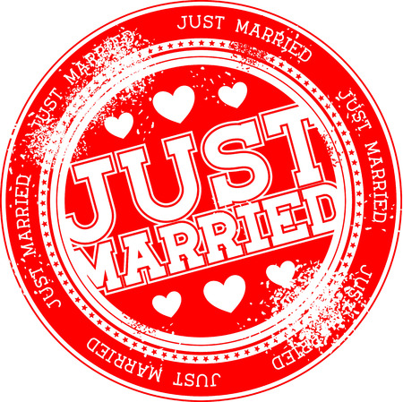 just married grunge stamp isolated on white background