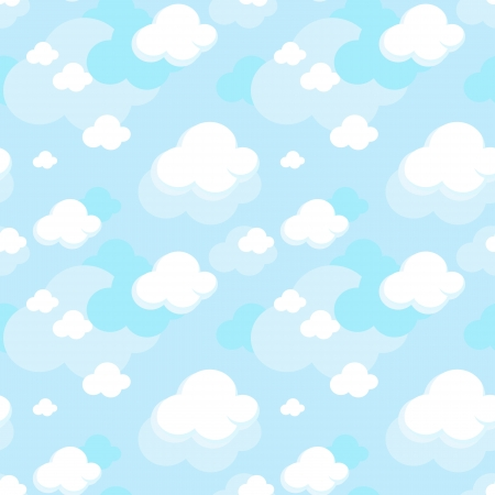 cute seamless pattern of clouds on blue sky backgroud Vector