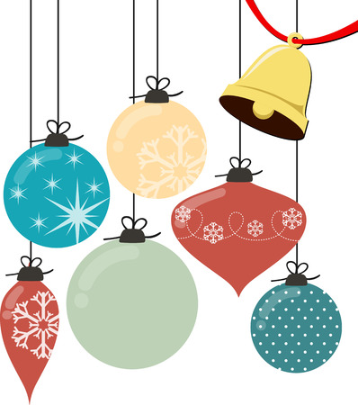 christmas balls and bell isolated on white background