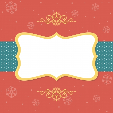 frame with ornaments on red background with snowflakes Vector