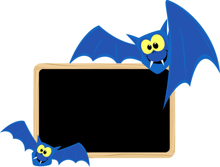 funny bats with blank signboard for halloween themes isolated on white background Illustration