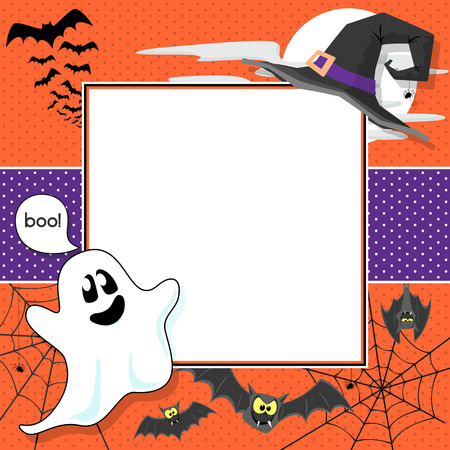 boo: funny halloween design elements framing blank square for scrapbook or copy space