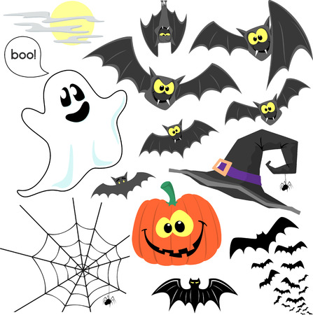 set of cute design elements for halloween design decoration isolated on white background Vector