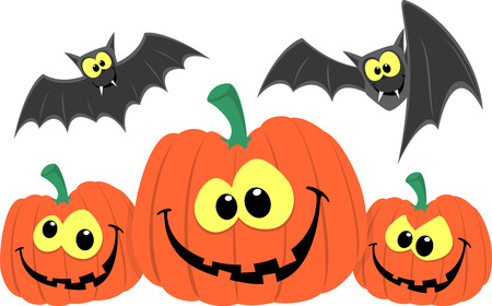 funny pumpkins and bats cartoon isolated on white background Çizim
