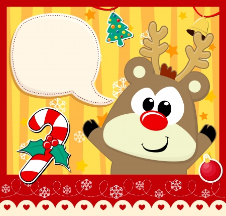 rudolph: cute baby rudolph with dialog bubble text and christmas decoration