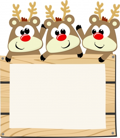 cute baby reindeers with wooden sign board isolated on white background for christmas theme
