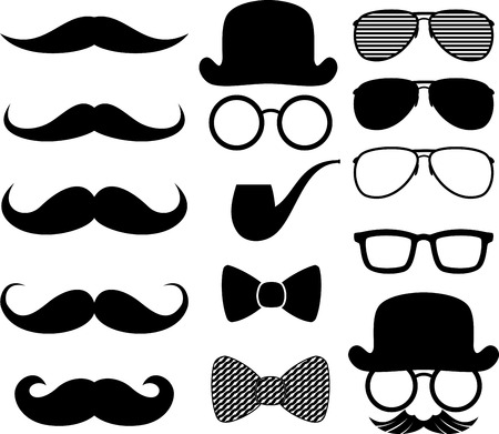 bowler hat: set of black moustaches silhouettes and design elements isolated on white background