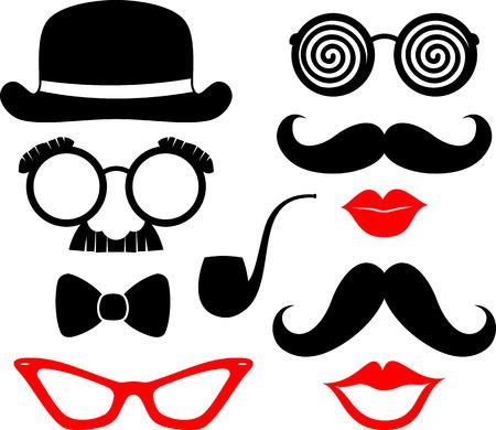 губы: набор усы, губы и очки силуэты и элементы дизайна для сторонних реквизита на белом фоне Иллюстрация