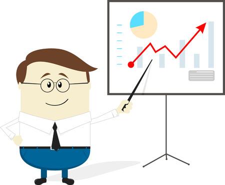 zakenman die grafiek toont op het projectiescherm, stripfiguur op een witte achtergrond, plat ontwerp