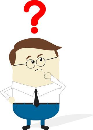 businessman doubt cartoon isolated on white background, flat design