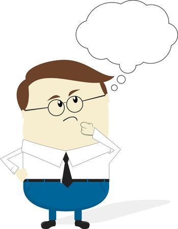 zakenman denken cartoon geïsoleerd op een witte achtergrond, plat ontwerp Stock Illustratie