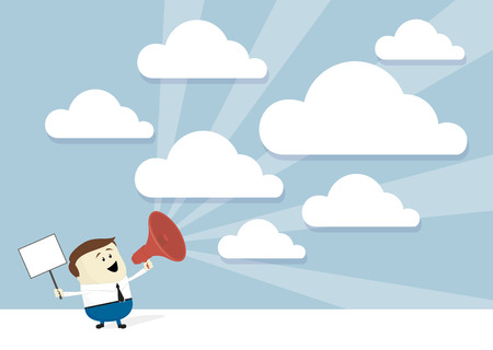 advertice businessman cartoon advertising with megaphone and signboard, empty clouds for copy space, flat design Ilustrace