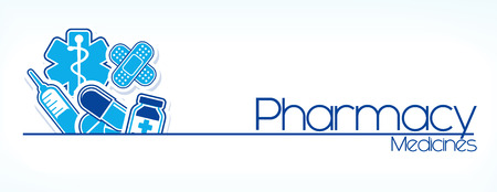 illustration of pharmacy sign design isolated on white background Vector